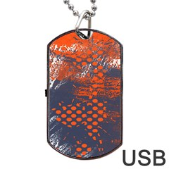 Dark Blue Red And White Messy Background Dog Tag Usb Flash (two Sides)
