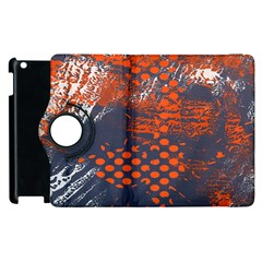 Dark Blue Red And White Messy Background Apple Ipad 3/4 Flip 360 Case