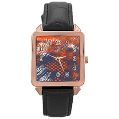 Dark Blue Red And White Messy Background Rose Gold Leather Watch