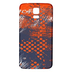 Dark Blue Red And White Messy Background Samsung Galaxy S5 Back Case (white)