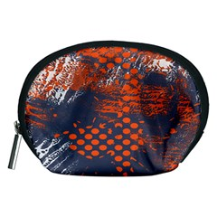 Dark Blue Red And White Messy Background Accessory Pouches (medium)