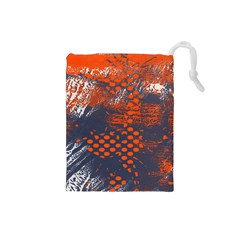 Dark Blue Red And White Messy Background Drawstring Pouches (small)