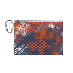Dark Blue Red And White Messy Background Canvas Cosmetic Bag (m)