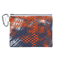 Dark Blue Red And White Messy Background Canvas Cosmetic Bag (l)