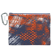Dark Blue Red And White Messy Background Canvas Cosmetic Bag (xl)