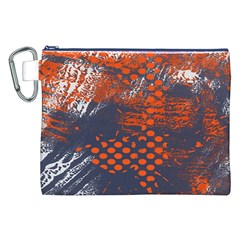 Dark Blue Red And White Messy Background Canvas Cosmetic Bag (xxl)