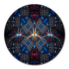 Fancy Fractal Pattern Background Accented With Pretty Colors Round Mousepads