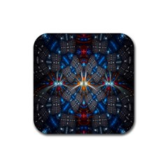 Fancy Fractal Pattern Background Accented With Pretty Colors Rubber Square Coaster (4 Pack)