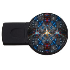 Fancy Fractal Pattern Background Accented With Pretty Colors Usb Flash Drive Round (2 Gb)