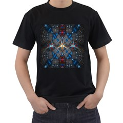 Fancy Fractal Pattern Background Accented With Pretty Colors Men s T Shirt (black) (two Sided)