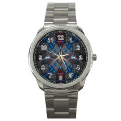 Fancy Fractal Pattern Background Accented With Pretty Colors Sport Metal Watch