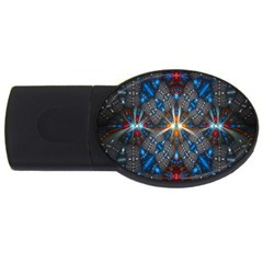 Fancy Fractal Pattern Background Accented With Pretty Colors Usb Flash Drive Oval (4 Gb)