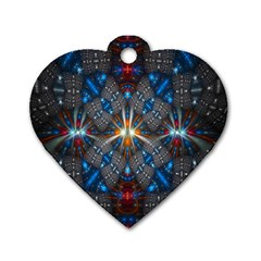 Fancy Fractal Pattern Background Accented With Pretty Colors Dog Tag Heart (two Sides)