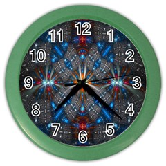 Fancy Fractal Pattern Background Accented With Pretty Colors Color Wall Clocks