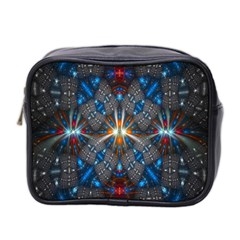 Fancy Fractal Pattern Background Accented With Pretty Colors Mini Toiletries Bag 2 Side