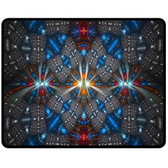 Fancy Fractal Pattern Background Accented With Pretty Colors Fleece Blanket (medium)