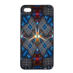 Fancy Fractal Pattern Background Accented With Pretty Colors Apple Iphone 4/4s Seamless Case (black)