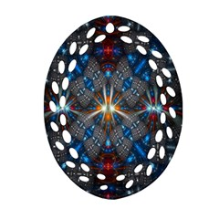 Fancy Fractal Pattern Background Accented With Pretty Colors Oval Filigree Ornament (two Sides)