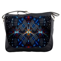 Fancy Fractal Pattern Background Accented With Pretty Colors Messenger Bags