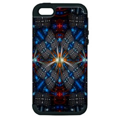 Fancy Fractal Pattern Background Accented With Pretty Colors Apple Iphone 5 Hardshell Case (pc+silicone)