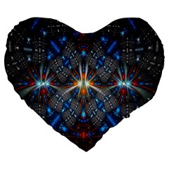 Fancy Fractal Pattern Background Accented With Pretty Colors Large 19  Premium Heart Shape Cushions