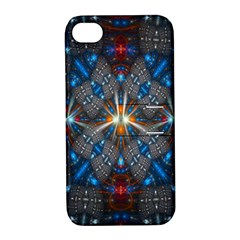 Fancy Fractal Pattern Background Accented With Pretty Colors Apple Iphone 4/4s Hardshell Case With Stand