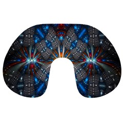 Fancy Fractal Pattern Background Accented With Pretty Colors Travel Neck Pillows