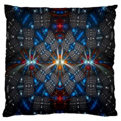 Fancy Fractal Pattern Background Accented With Pretty Colors Large Flano Cushion Case (one Side)