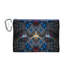 Fancy Fractal Pattern Background Accented With Pretty Colors Canvas Cosmetic Bag (m)