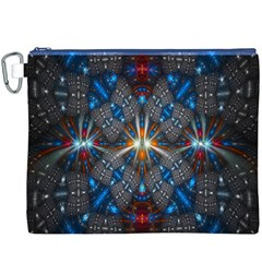 Fancy Fractal Pattern Background Accented With Pretty Colors Canvas Cosmetic Bag (xxxl)