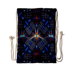 Fancy Fractal Pattern Background Accented With Pretty Colors Drawstring Bag (small)