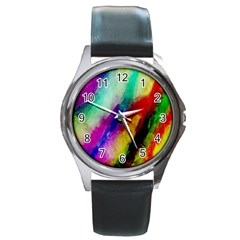 Colorful Abstract Paint Splats Background Round Metal Watch