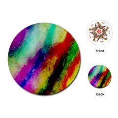 Colorful Abstract Paint Splats Background Playing Cards (round)