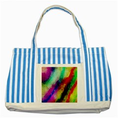Colorful Abstract Paint Splats Background Striped Blue Tote Bag