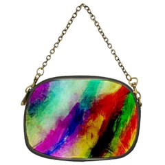 Colorful Abstract Paint Splats Background Chain Purses (two Sides)