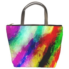 Colorful Abstract Paint Splats Background Bucket Bags