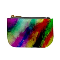 Colorful Abstract Paint Splats Background Mini Coin Purses