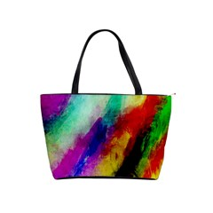 Colorful Abstract Paint Splats Background Shoulder Handbags