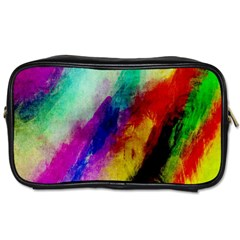 Colorful Abstract Paint Splats Background Toiletries Bags 2 Side
