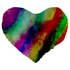 Colorful Abstract Paint Splats Background Large 19  Premium Heart Shape Cushions