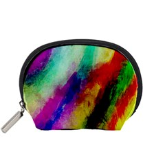 Colorful Abstract Paint Splats Background Accessory Pouches (small)