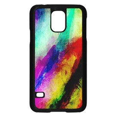 Colorful Abstract Paint Splats Background Samsung Galaxy S5 Case (black)