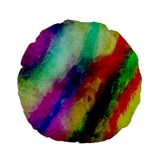 Colorful Abstract Paint Splats Background Standard 15  Premium Flano Round Cushions