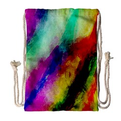 Colorful Abstract Paint Splats Background Drawstring Bag (large)