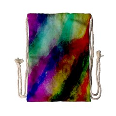 Colorful Abstract Paint Splats Background Drawstring Bag (small)