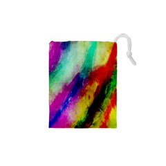 Colorful Abstract Paint Splats Background Drawstring Pouches (xs)