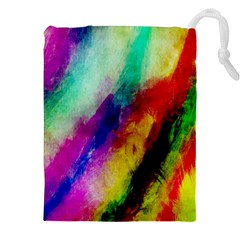 Colorful Abstract Paint Splats Background Drawstring Pouches (xxl)