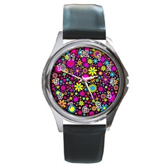 Bright And Busy Floral Wallpaper Background Round Metal Watch