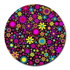 Bright And Busy Floral Wallpaper Background Round Mousepads