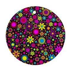 Bright And Busy Floral Wallpaper Background Ornament (round)